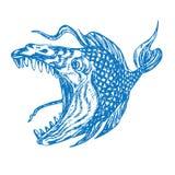 Profil de poissons de piranhas, bouche ouverte avec les dents pointues et languette longue, croquis tiré par la main drôle de gri illustration stock