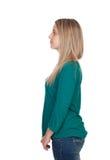 Profil der attraktiven Frau mit dem blonden Haar Stockfoto