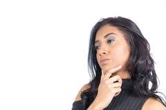 Profil der Frau denkend an etwas Weibliches Modelltragen Lizenzfreie Stockfotografie