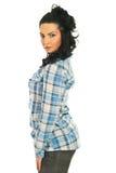 Profil der hübschen vorbildlichen Frau Stockbild