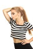 Profil der jungen Schönheit lokalisiert auf einem weißen backgro Lizenzfreie Stockbilder