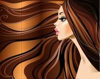 Profil des schönen Mädchens mit den langen Haaren lizenzfreie abbildung
