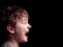 Profil du garçon de cri Photographie stock libre de droits