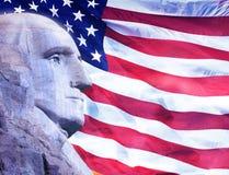 Profil du Président George Washington et drapeau américain photos libres de droits