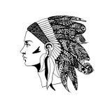 Profil dziewczyna w tradycyjnym pióropuszu Indiański szef ilustracji