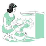 Profil einer s??en Dame Das M?dchen w?scht sich auf der Waschmaschine und legt Schmutzw?sche Eine Frau ist eine gute Frau und ein lizenzfreie abbildung