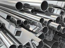 Profil et tuyaux en métal sur le fond blanc. illustration stock