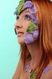 Profil extrême de collier de vintage de fille de maquillage Image libre de droits