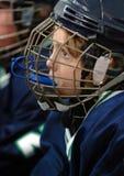 profil för hockeyisspelare Arkivbild