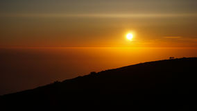 Profil foncé de coucher du soleil dans Sintra Photographie stock