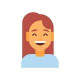 Profil-Ikonen-weiblicher Gefühl-Avatara, Frauen-Karikatur-Porträt-glückliches lächelndes Gesichts-Lachen vektor abbildung
