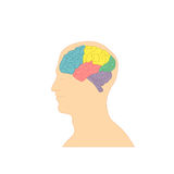 Profil ludzka głowa z kolorowym mózg Zdjęcia Royalty Free