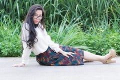 Profil młody Azjatycki kobiety spojrzenie Obraz Royalty Free