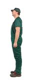 Profil Man in green  overalls Royalty Free Stock Image