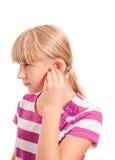 Profil niepełnosprawna dziewczyna z przesłuchanie pomocą Obrazy Royalty Free