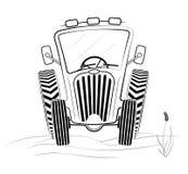 Profil noir et blanc de tracteur dans le domaine Un dessin drôle Travail ou moisson de ressort Images stock