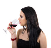 Profil pije wino piękna dziewczyna Fotografia Royalty Free