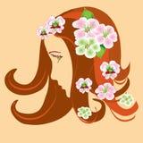 Profil stylisé de fille avec des fleurs de pomme de source Photos libres de droits