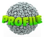 Profil-Wort-Buchstabe-Ball-Bereich-Aktualisierungs-persönliche Information Stockfoto