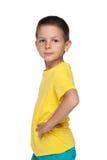 Profil zadumana chłopiec zdjęcia royalty free