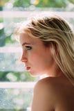 Profil zmysłowa blondynka Obrazy Royalty Free