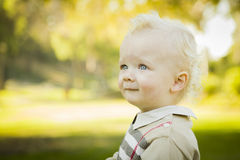 Profile of Adorable Blonde Baby Boy Outdoors Royalty Free Stock Image