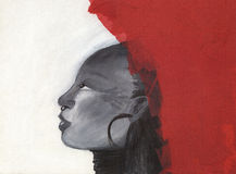 Freedom artwork: Profile of an african woman Stock Images