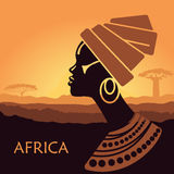 Profile of African women in a landscape. Tropical landscape. Beautiful black woman. African savannah card Stock Image