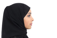 Profile of an arab saudi woman face with perfect skin. Isolated on a white background Royalty Free Stock Photos