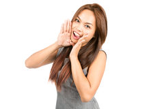 Profile Asian Girl Announcing Cupping Mouth Half Royalty Free Stock Photo