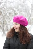Profile of attractive girl having fun in winter Stock Images