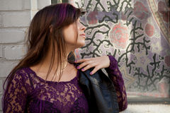Profile of Attractive Woman in Lace Top Stock Photo