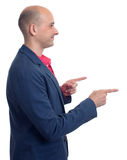 Profile of bald man pointing finger Royalty Free Stock Photos