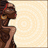 Profile of beautiful African woman. Hand drawn ethnic illustration Royalty Free Stock Photo