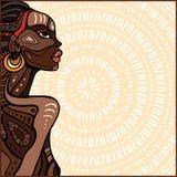 Profile of beautiful African woman. Hand drawn ethnic illustration vector illustration