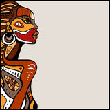 Profile of beautiful African woman. Hand drawn ethnic illustration Stock Photos