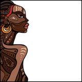 Profile of beautiful African woman. Hand drawn ethnic illustration royalty free illustration