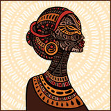Profile of beautiful African woman. Hand drawn ethnic illustration Royalty Free Stock Image