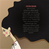 Profile of beautiful brunette with long hairs. Profile of beautiful brunette with long hairs and place for text vector illustration