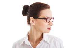 Profile of beautiful business woman with eyeglasses. Stock Image