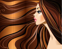 Profile of beautiful girl with long hairs. Royalty Free Stock Photography