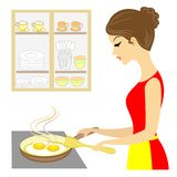 Profile of a beautiful lady. The girl is preparing food. Fry eggs on a stove in a frying pan. A delicious and healthy omelet. royalty free illustration