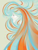 Profile of beautiful woman with abstract flowing h Stock Photography