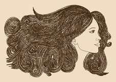 Profile of beautiful woman with waving hair.Graphic style Royalty Free Stock Images