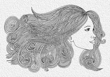 Profile of beautiful woman with waving hair.Graphic style Royalty Free Stock Photos