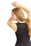 Profile of the beautiful young girl, portrait from a back. Stock Image