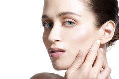 Profile of beautiful young model indicate ear Royalty Free Stock Photography