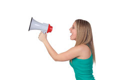 Profile of a blond girl with a megaphone Royalty Free Stock Images