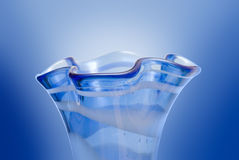 Profile of a blue glass vase. Closeup of a neck of a blue vase with curves (on white Stock Photos