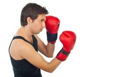Profile of boxer man training Royalty Free Stock Photo